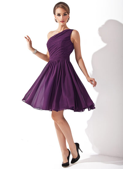 A-Line One-Shoulder Knee-Length Chiffon Bridesmaid Dress With Ruffle Bow(s)