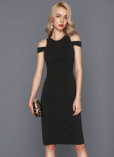 Sheath/Column Scoop Neck Knee-Length Satin Cocktail Dress With Split Front