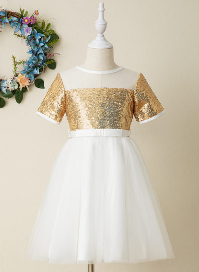 Áčkové Šaty Po kolena Flower Girl Dress - Tyl/Sequined Krátké rukávy Scoop Neck S flitry