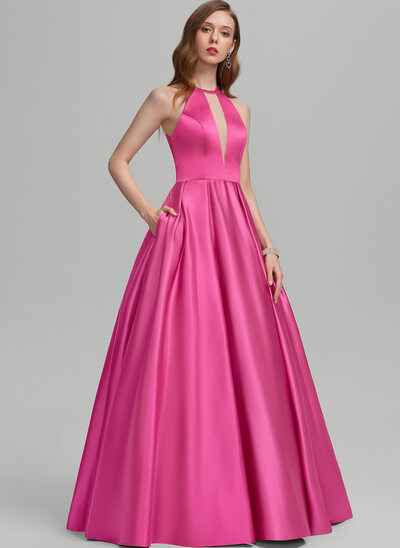 Ball-Gown/Princess Scoop Neck Floor-Length Satin Prom Dresses With Pockets