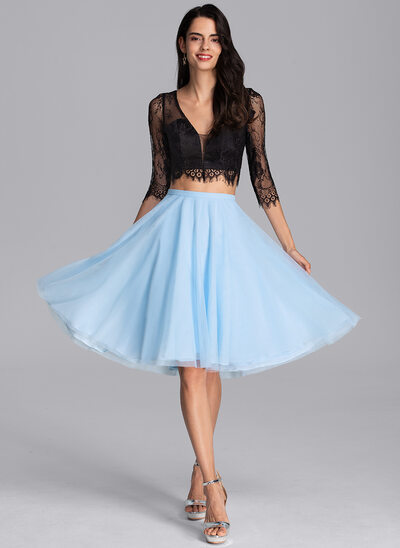 A-Line Knee-Length Tulle Cocktail Dress