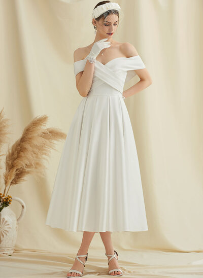 A-Line Off-the-Shoulder Tea-Length Satin Wedding Dress With Pockets