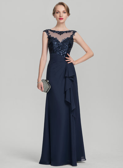 A-Line/Princess Scoop Neck Floor-Length Chiffon Sequined Evening Dress With Cascading Ruffles