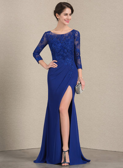 Trumpet/Mermaid Scoop Neck Floor-Length Chiffon Lace Mother of the Bride Dress With Beading Split Front