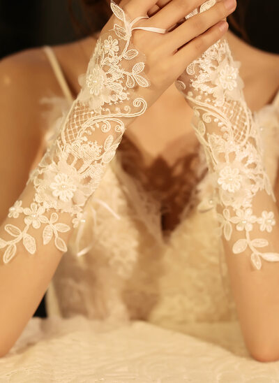 Tulle/Lace Bridal Gloves With Imitation Pearls