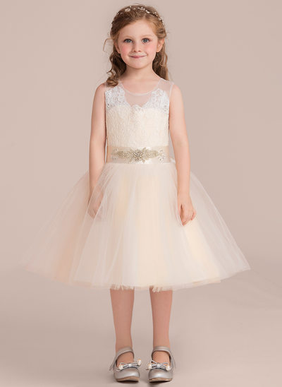 A-Line/Princess Knee-length Flower Girl Dress - Satin/Tulle/Lace Sleeveless Scoop Neck With Sash (Detachable sash)