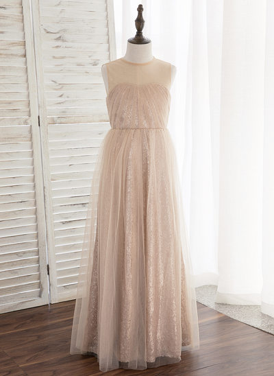 A-Line/Princess Ankle-length Flower Girl Dress - Tulle/Sequined Sleeveless Scoop Neck With Back Hole