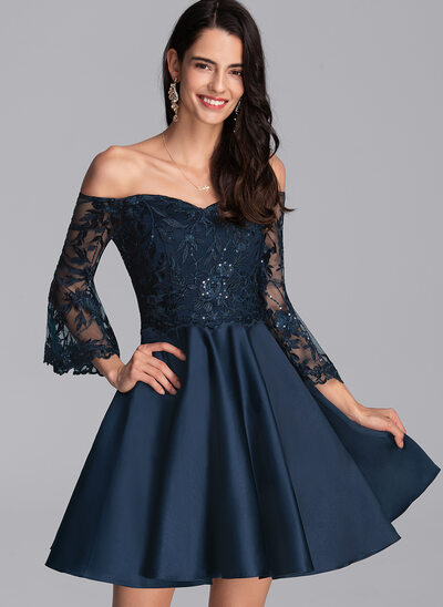 A-Line Off-the-Shoulder Short/Mini Satin Homecoming Dress With Sequins