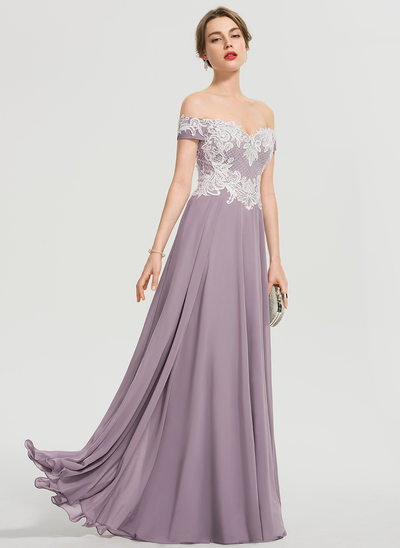 e12c8760bdf5 A-Line Off-the-Shoulder Floor-Length Chiffon Prom Dresses With Sequins