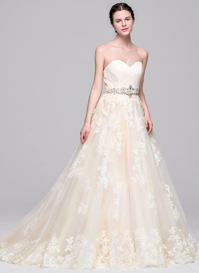 Ball-Gown Sweetheart Court Train Tulle Wedding Dress With Ruffle Beading Appliques Lace Sequins