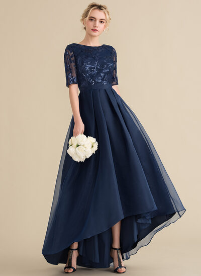 A-Line/Princess Scoop Neck Asymmetrical Organza Sequined Bridesmaid Dress