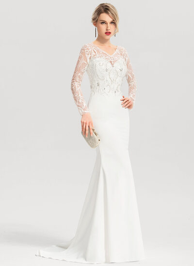 Trumpet/Mermaid V-neck Sweep Train Stretch Crepe Wedding Dress With Beading Sequins
