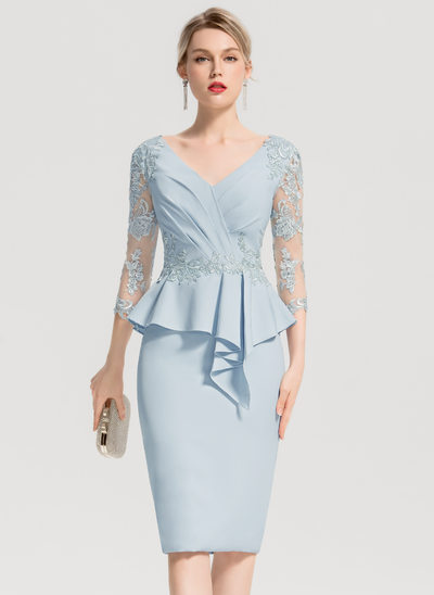 Sheath/Column V-neck Knee-Length Satin Cocktail Dress With Appliques Lace Cascading Ruffles
