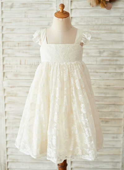 A-Line/Princess Knee-length Flower Girl Dress - Satin/Lace Sleeveless Square Neckline With Bow(s)