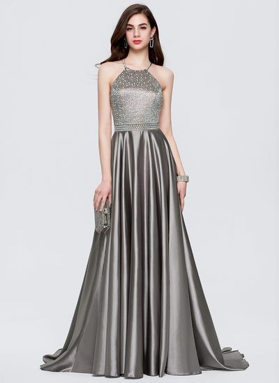 A-Line/Princess Scoop Neck Sweep Train Satin Evening Dress With Beading