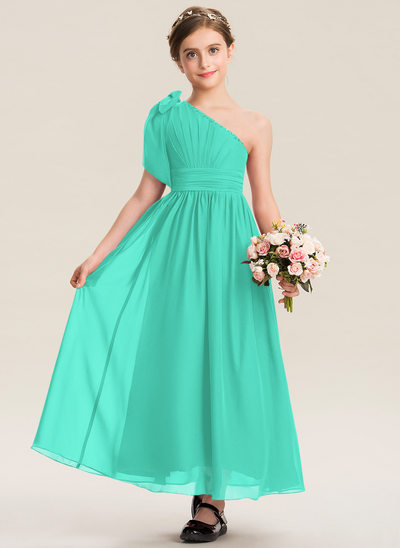 A-Line One-Shoulder Ankle-Length Chiffon Junior Bridesmaid Dress With Ruffle Beading Sequins Bow(s)