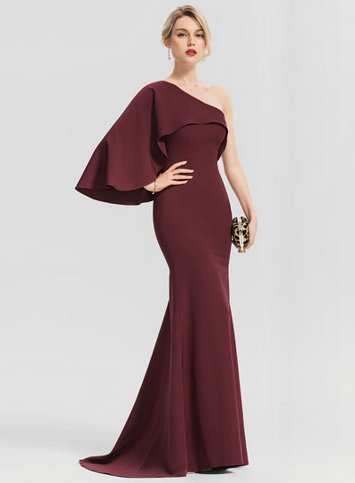 Trumpet/Mermaid One-Shoulder Sweep Train Satin Evening Dress With Cascading Ruffles