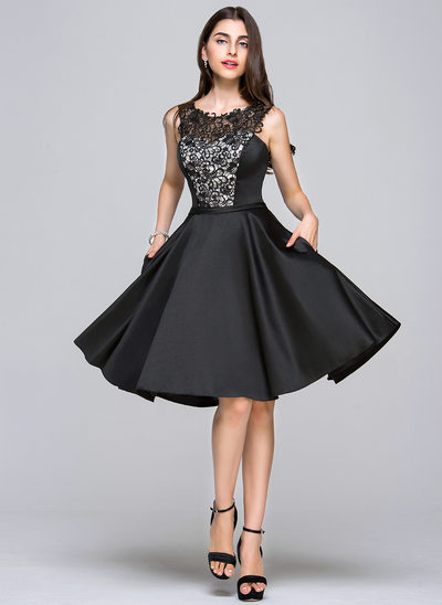 A-Line Scoop Neck Knee-Length Satin Homecoming Dress With Sequins Pockets