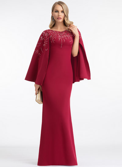 Sheath/Column Scoop Neck Floor-Length Stretch Crepe Evening Dress With Lace Sequins