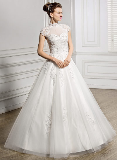 Ball-Gown High Neck Floor-Length Tulle Lace Wedding Dress With Ruffle Beading Sequins