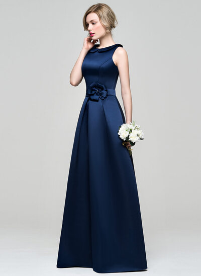 A-Line/Princess Scoop Neck Floor-Length Satin Bridesmaid Dress With Flower(s)