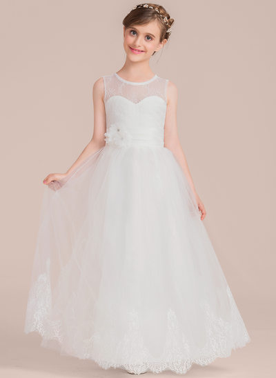 A-Line/Princess Scoop Neck Floor-Length Tulle Lace Junior Bridesmaid Dress With Beading Flower(s)