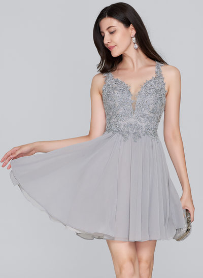A-Line/Princess Sweetheart Short/Mini Chiffon Homecoming Dress With Beading Sequins