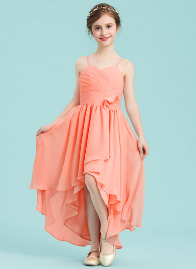 A-Line/Princess Sweetheart Asymmetrical Chiffon Junior Bridesmaid Dress With Ruffle Flower(s)