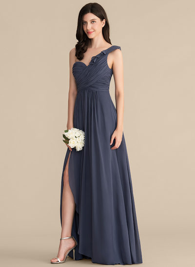 A-Line/Princess One-Shoulder Floor-Length Chiffon Prom Dresses With Split Front Cascading Ruffles