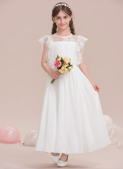 A-Line/Princess Scoop Neck Ankle-Length Chiffon Junior Bridesmaid Dress With Cascading Ruffles