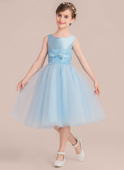 A-Line/Princess Tea-length Flower Girl Dress - Satin/Tulle Sleeveless Scoop Neck With Beading/Bow(s)
