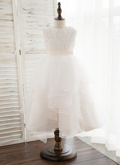 A-Line Tea-length Flower Girl Dress - Organza/Satin/Lace Sleeveless Scoop Neck