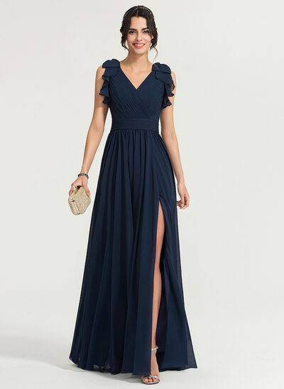 A-Line/Princess V-neck Floor-Length Chiffon Prom Dresses With Split Front