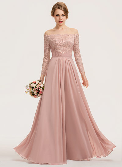 A-Line Off-the-Shoulder Floor-Length Chiffon Lace Evening Dress With Ruffle