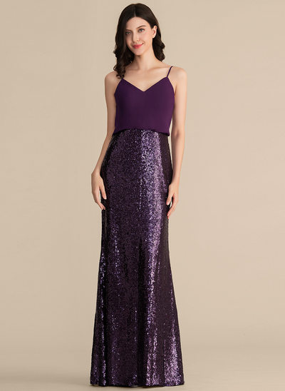 Sheath/Column V-neck Floor-Length Chiffon Sequined Bridesmaid Dress