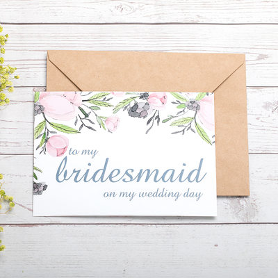 Bridesmaid Gifts - Beautiful Card Paper Wedding Day Card