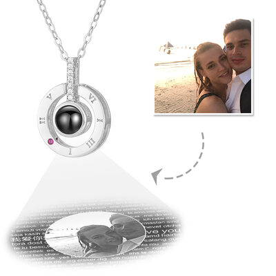 Custom Sterling Silver I Love You Necklace In 100 Languages Projection Circle Photo Necklace With Cubic Zirconia - Mother's Day Gifts