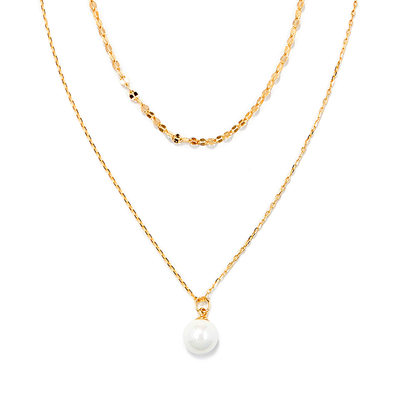 18k Gold Plated Silver Double Pearl Pendant Necklace