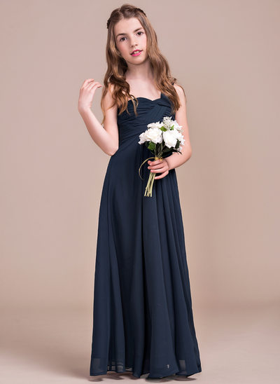 Empire One-Shoulder Floor-Length Chiffon Junior Bridesmaid Dress With Ruffle