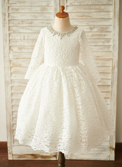 A-Line Knee-length Flower Girl Dress - Lace Long Sleeves Scoop Neck With Rhinestone
