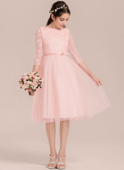 A-Line/Princess Knee-length Flower Girl Dress - Satin/Tulle/Lace 3/4 Sleeves Scoop Neck With Bow(s)