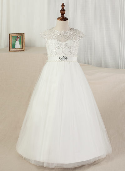 Ball Gown Sweep Train Flower Girl Dress - Satin/Tulle/Lace Sleeveless Scoop Neck With Sash/Beading/Appliques/V Back