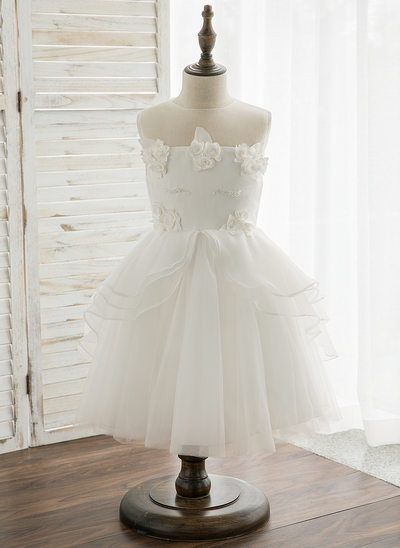 Princesový Po kolena Flower Girl Dress - Tyl/Krajka Bez rukávů Scoop Neck S Nášivky