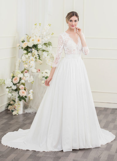 Ball-Gown V-neck Court Train Taffeta Lace Wedding Dress With Ruffle