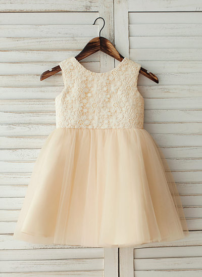 A-Line/Princess Knee-length Flower Girl Dress - Tulle/Lace Sleeveless Scoop Neck