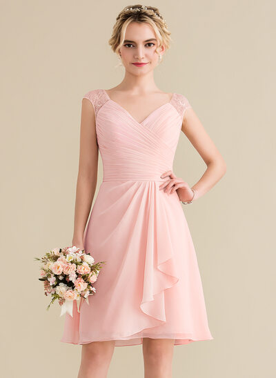 A-Line/Princess V-neck Knee-Length Chiffon Lace Bridesmaid Dress With Cascading Ruffles