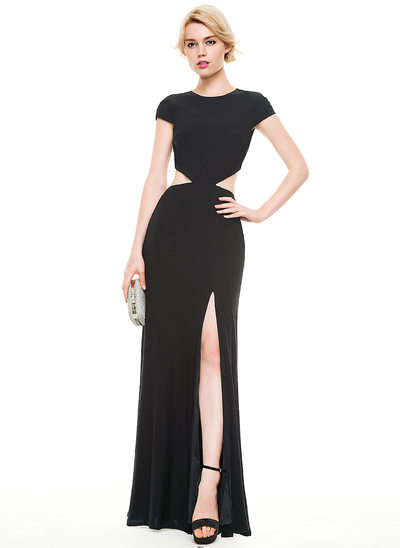Sheath/Column Scoop Neck Floor-Length Jersey Prom Dresses With Split Front