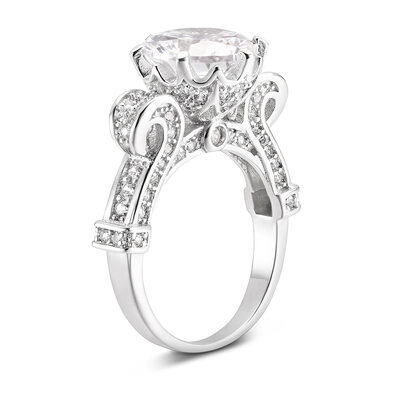 Sterling Silver Cubic Zirconia Halo Vintage Round Cut Engagement Rings Promise Rings -