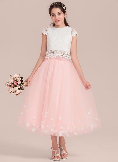 A-Line/Princess Scoop Neck Tea-Length Tulle Junior Bridesmaid Dress With Flower(s)