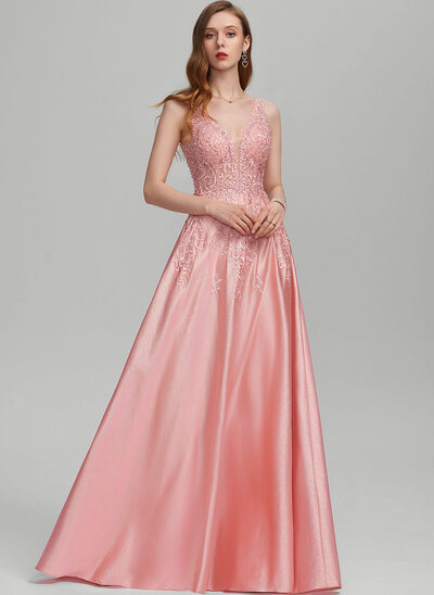 A-Line V-neck Floor-Length Jersey Prom Dresses With Beading Sequins